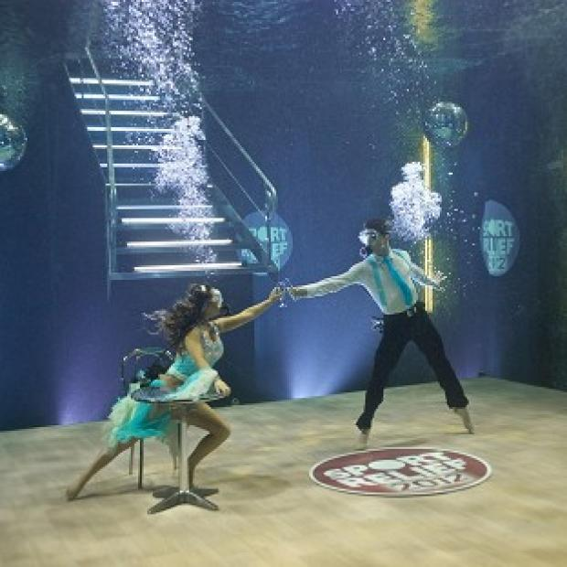 Strictly Come Dancing finalist Chelsee Healey performs an underwater routine for Sport Relief