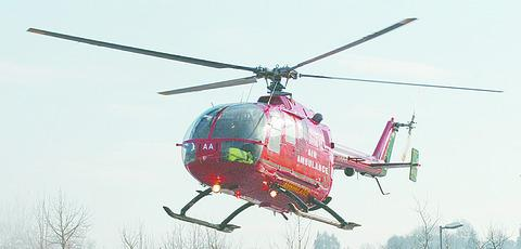 The injured man was airlifted to hospital.