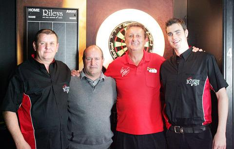 Darts enthusiasts (left to right): Mark Stephenson, Bobby Barton (investor), 'The Crafty Cockney' Eric Bristow and Joe Endacott. Missing from the picture is Peter Coates, who has supported the project.