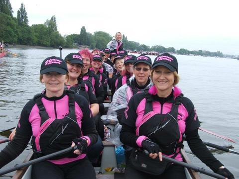 The Worcester Busters' 16-strong crew starting out at Monday's Thames pageant.