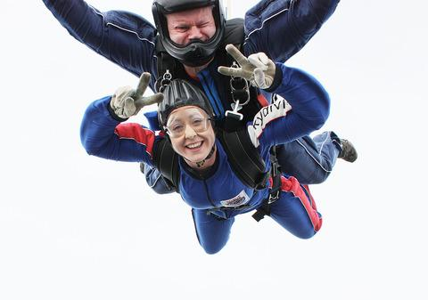 Samantha Bensted took part in a sky dive to raise £1,300 for the Stroke Association.