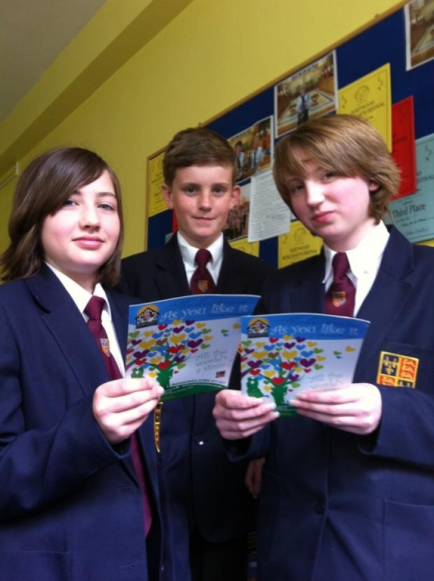 WE LIKED IT: From left, QE Humanities College pupils Tamzin Moosn, Harry Hall and PoppyLane.