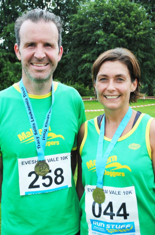 10k JOY: Sam Burnage and Jules Mitchell celebrate after the race in Evesham.