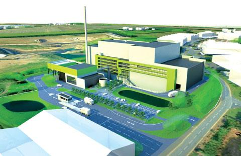 An artist's impression of the new incinerator planned for Hartlebury, which would take around 50,000 tonnes of waste from Herefordshire