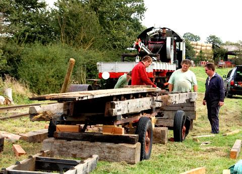 LAYING IT ON THE LINE: Volunteers working on the length of track that will allow full-sized locos to be displayed in action at the Welland Steam Rally.