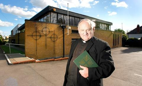 NEW PRIEST: Father Adrian Wiltshire pictured outside his new church. 38133301.