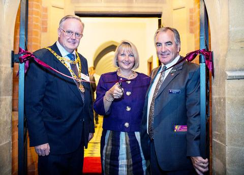 UNIQUE CHARACTER: Malvern mayor Ian Hopwood and Abbey owners Carol and Mike Clare at the launch of phase one of the £20m centre which will be fully completed in two years.