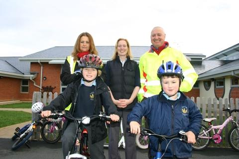 Getting active are (back, from left) Herefordshire Council bike trainer Katie Phillips, teacher Sarah Laws and council bike trainer Justin Goult, with Cameron Pearson (front left) and Joe Blackman.