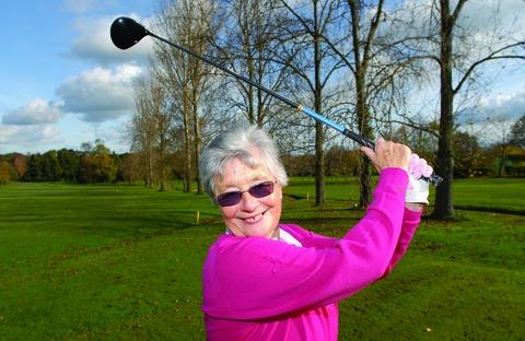 FULL SWING AHEAD: New lady captain at The Worcestershire Golf Club, Jan Kirkland, gears up for her 12 months in the post at the Malvern Wells club. Picture: NICK TOOGOOD. 44165202