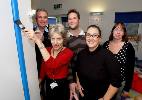 BRUSH UP: A team of volunteers rolled up their sleeves to repaint Ledbury's children's centre. Among the eager helpers were, from left, Clive Jupp, Jill Jupp, Mark Coulter, Laura Clarke and Katie Balson. Picture by Paul Jackson. 45171401.