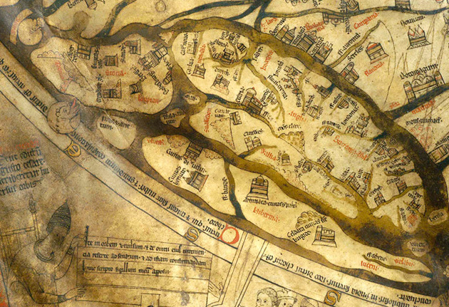 Mappa Mundi - detail showing British Isles on their side, with Scotland on the left and South of England on the right. Many cities and landmarks can be identified, while Hereford features as a small town.