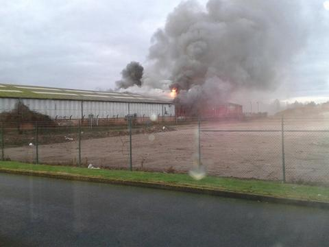 The fire at the Thorn Business Park. Picture by Old Hereford Pics.