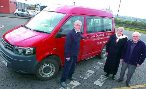 Volunteer driver Chris Tomlinson, pictured alongside passengers Freda Hirst and Fred Bristow, and the new multi-purpose vehicle.