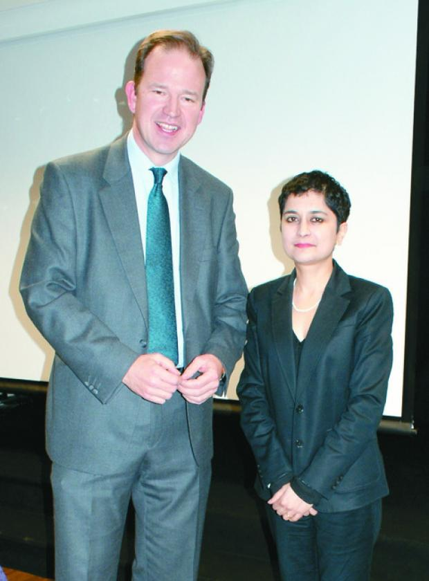 Jesse Norman pictured with Shami Chakrabarti in Hereford