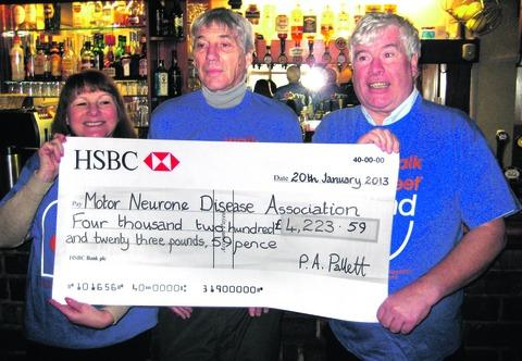 Ledbury Reporter: FANTASTIC EFFORT: left, Janet Hannon, Paul Pallett and Ray Hannon with the cheque.
