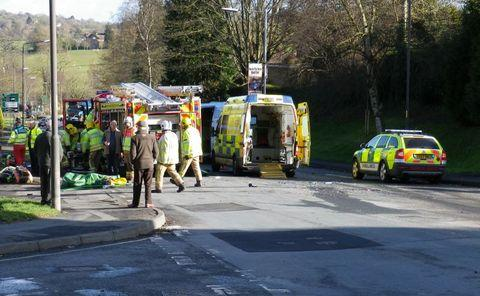 Emergency services on the scene of the Bromyard collision. Picture by Graham Perkins.