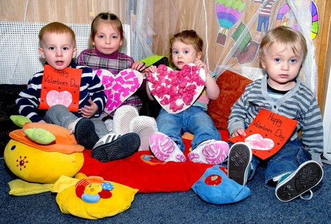 Pictured above, from left, are youngsters Harvey O'Neil, aged two, Caprice Dzhevelieva, three, Jessica Smith, two, and Myles Cook, 18 months. 0713244801. Picture by N