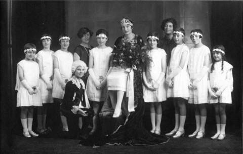 QUEEN OF THE RAILWAYS: Mabel Kitson is pictured with some of her attendants in 1927.