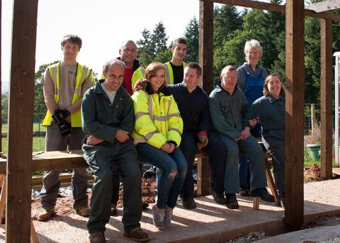HELPING HAND: Staff at Speller Metcalfe created a pergola for Ledbury's Salter's Hill.