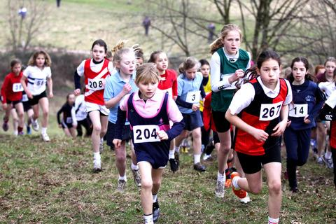 TOUGH: The under 11s girls tackle the Malvern cross-country. Picture: Victoria Gooch.