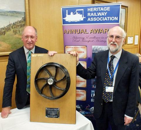 BEST HERITAGE RAILWAY PROJECT OF 2012: Darjeeling Himalayan Railway Society vice chairman Paul Whittle, left, and engineering director David Mead with their award trophy.