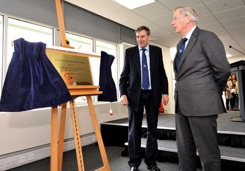 Unveiling the plaque at the University