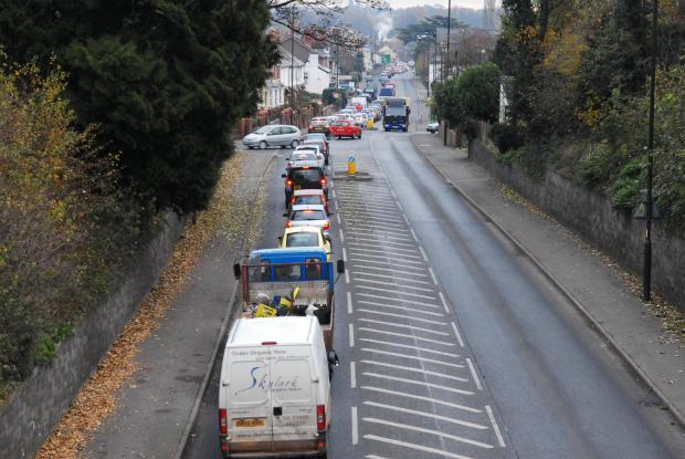 Ledbury Reporter: Heavy traffic along Belmont Road earlier today. Picture by David Griffiths (Eye Contact Media).