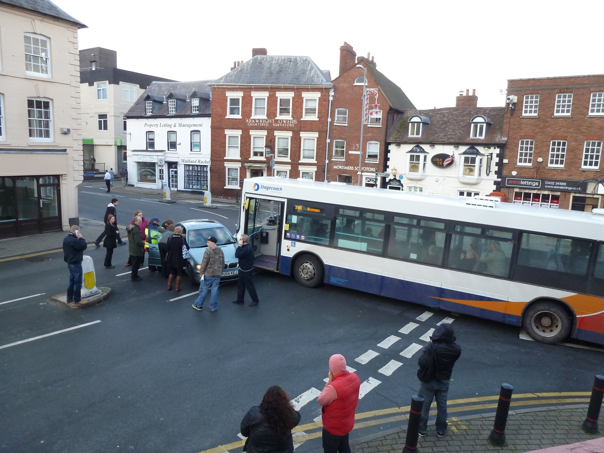 The collision at the junction of King Street at Bridge Street this morning.