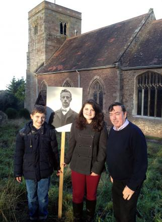 RINGING IN THE PAST AND PRESENT: Robert Hodges, the tower captain, Charlotte Phillips, aged 12, and Oliver Phillips, 10, two of Tarrington Church's young bell-ringers, will be on the trail of First World War soldier George Evesham.