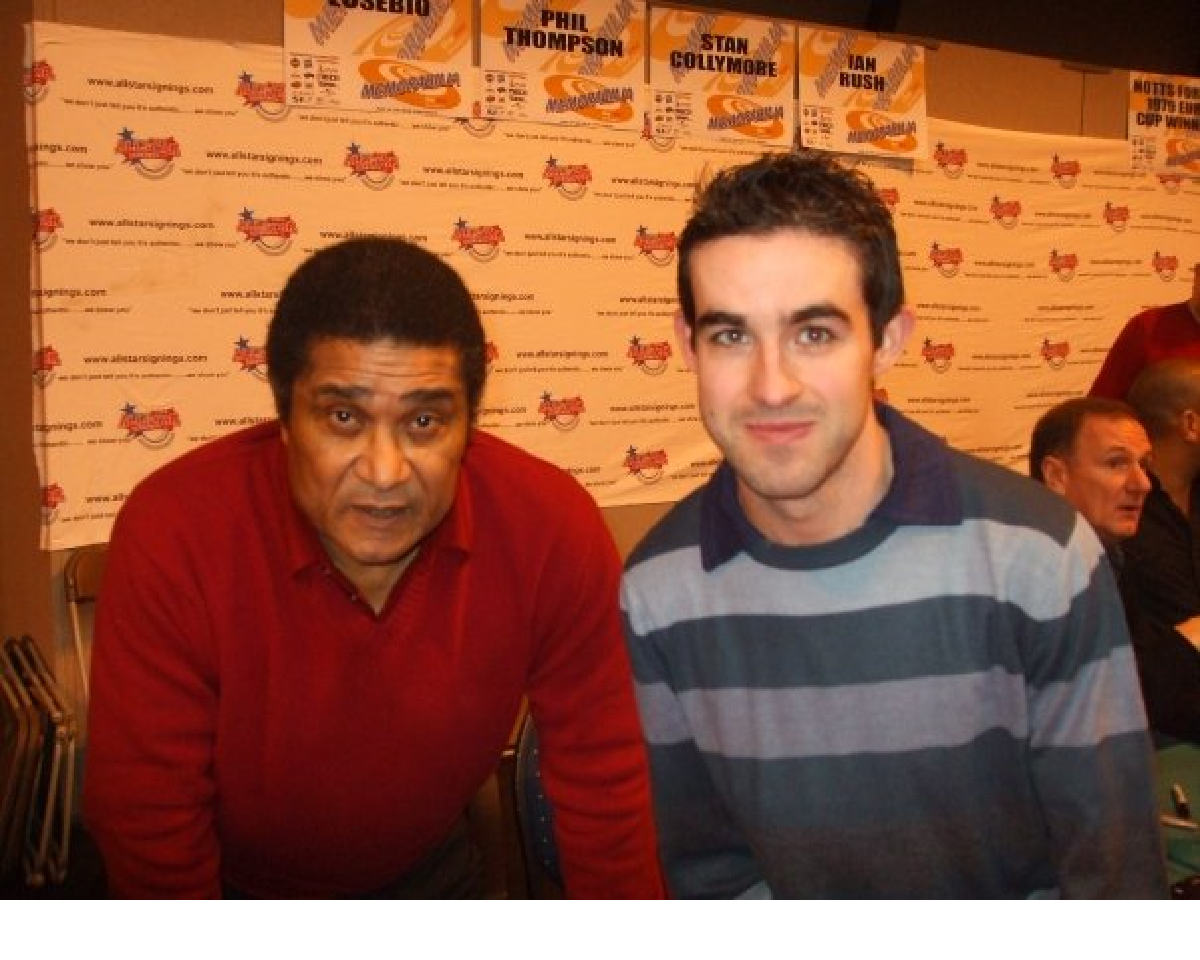 Hereford Times Paul Rogers (right) with Eusebio.