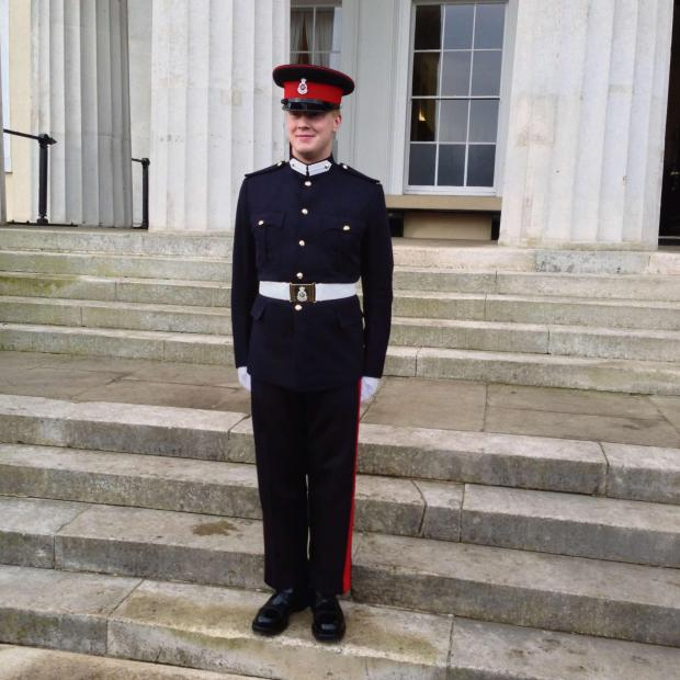Ledbury Reporter: Jack Goring at his passing out ceremony at Royal Military Academy Sandhurst.