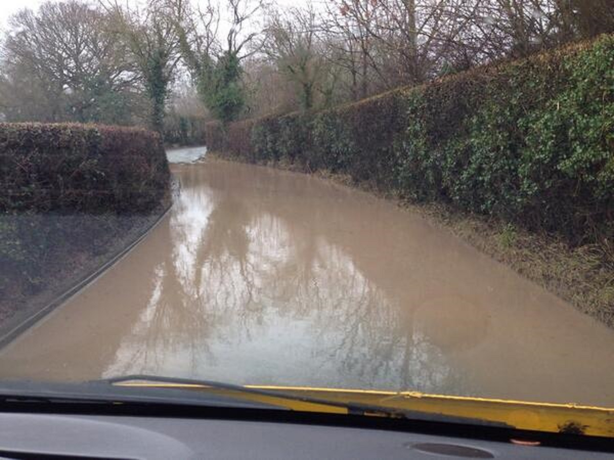 This is floodwater off fields! There are all sorts of contaminates in it! Lower Howsell Road, Malvern. Credit @dharford79/@AASORT