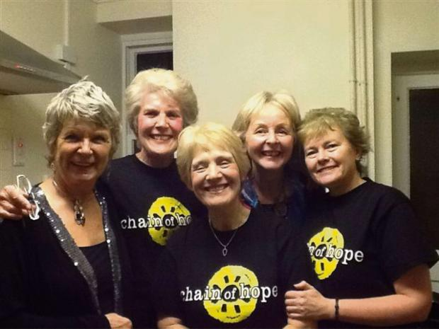 Ledbury Reporter: The Ledbury Chain of Hope fund-raising team celebrate their efforts. (l-r) Mary Rowswell, Eileen Cooper, Carol Wright, Gill Blows and Sally Brazil.