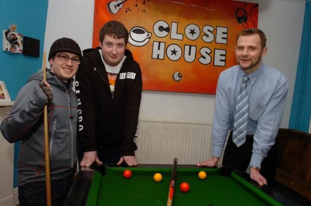 Ledbury Reporter: (l-r) Nathan Sadler and Haydn Walker, who use Close House youth centre in Hereford, with HVOSS chief executive Will Lindesay .(3687809) By James Maggs