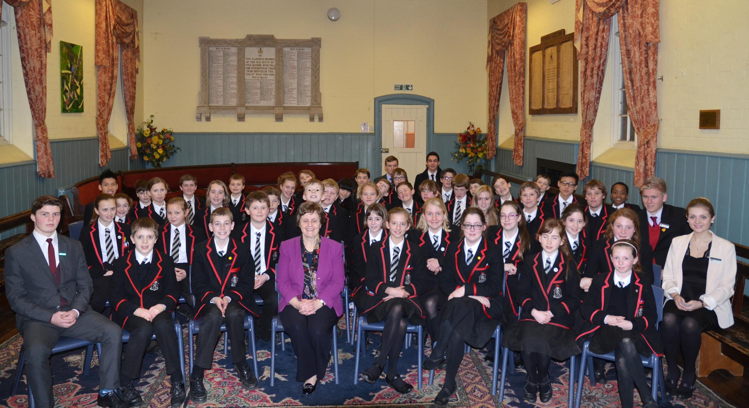 Anthea McIntyre MEP for the West Midlands and Lucton School students.