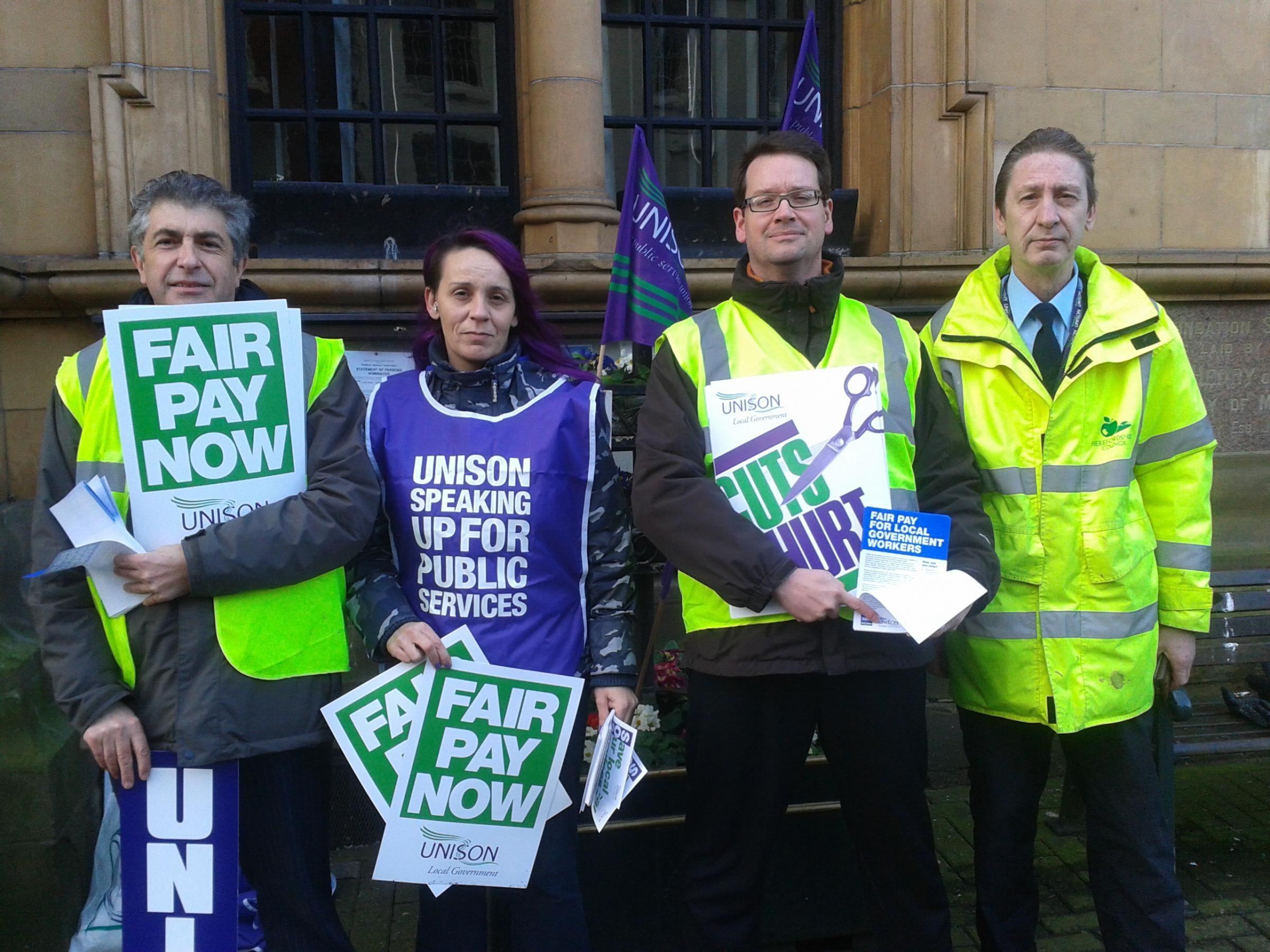 Unison pickets at Hereford Town Hall today.