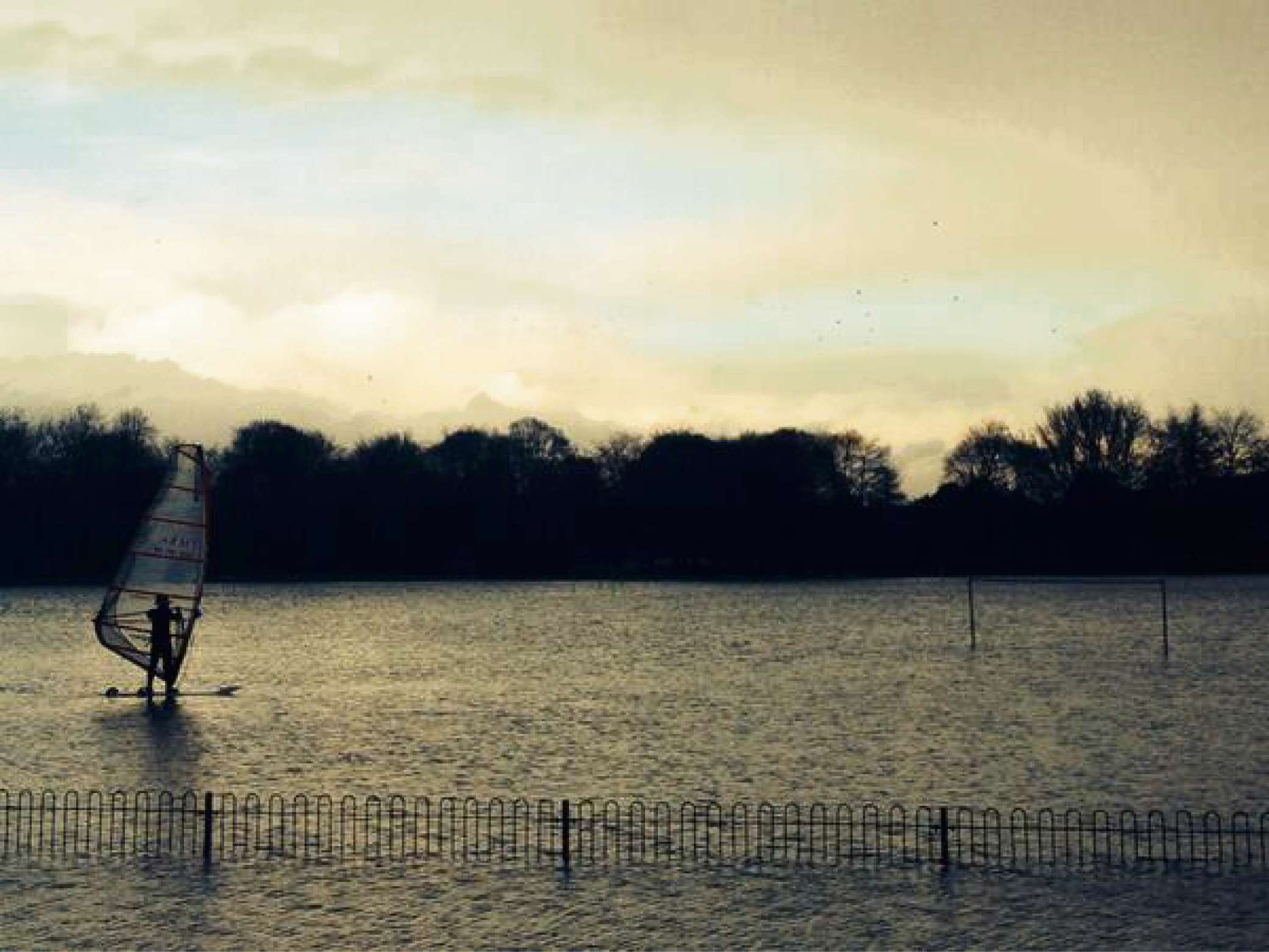 One watersports enthusiast made the most of the early-January flooding on Bishop's Meadow.