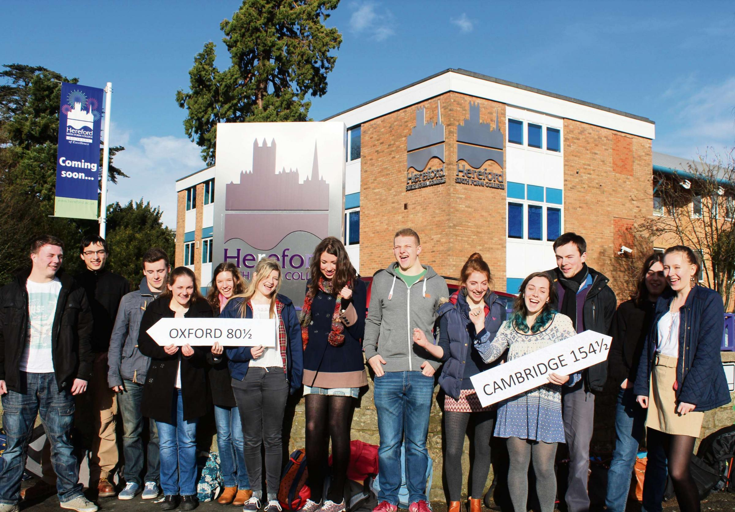 The successful students - with the exception of Daniel Gethin who was in New York at the time of the photo.