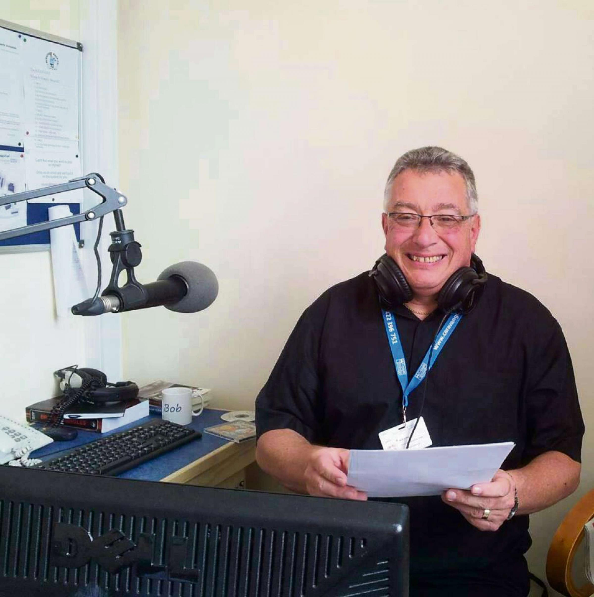 Reverend Bob King in the studio for his Hereford Hospital Radio show.