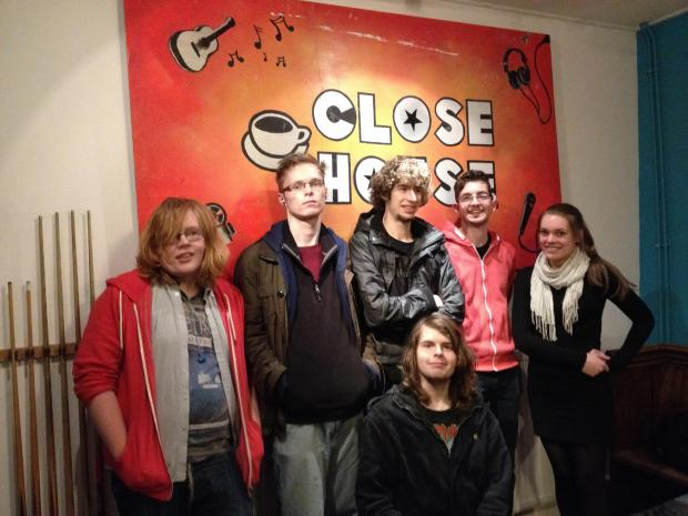 Ledbury Reporter: From left to right: Joe Rogers, John Mason, Conor Frampton, Chris Butts (youth worker), Charlotte Elliott (youth worker) and Carl Higgins. The youngsters are part of Another Band which will be performing at next week's show.