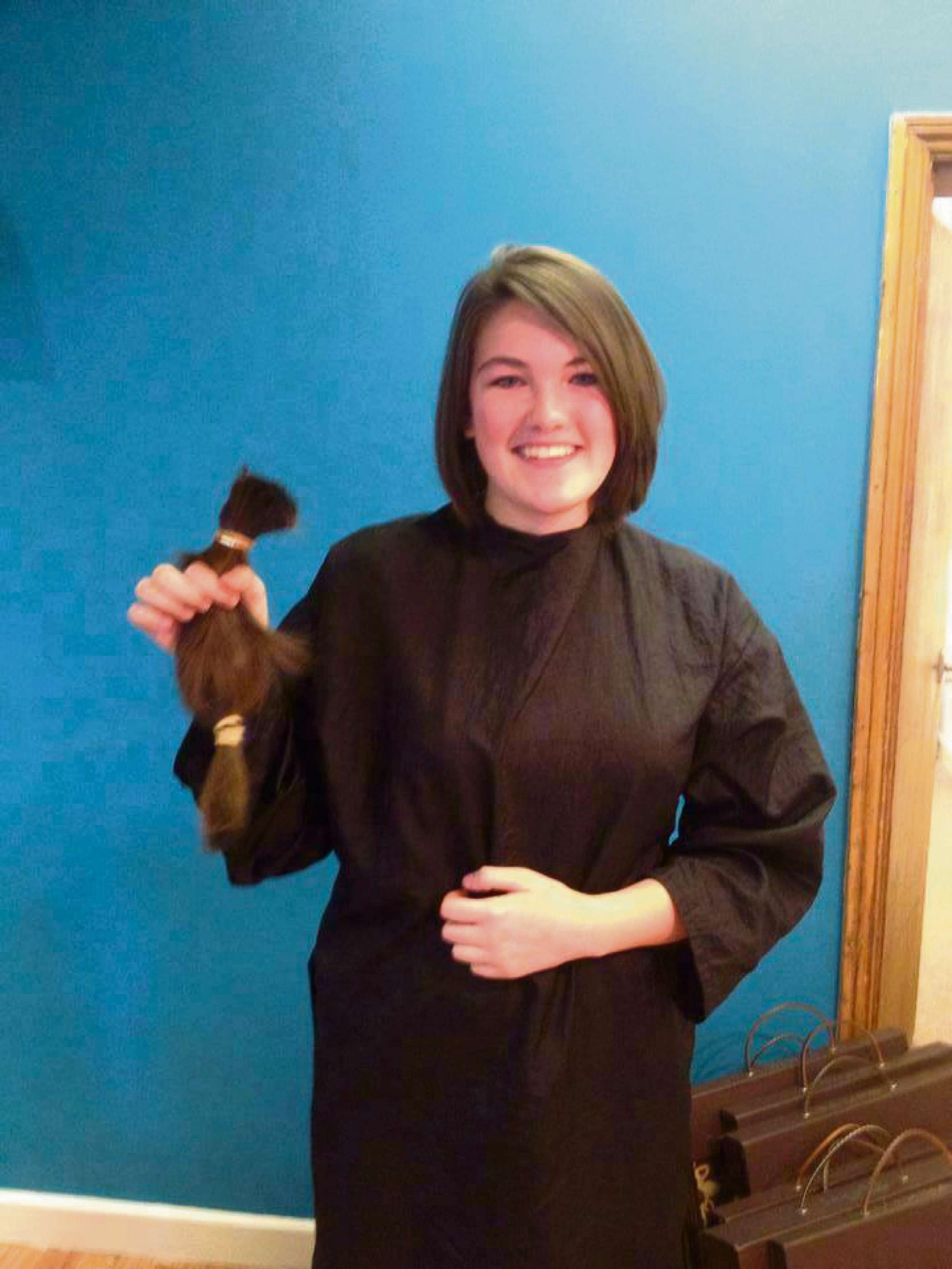 Nina with her new cut. Picture: Carolyn Middleton at Whites Hairdressing.