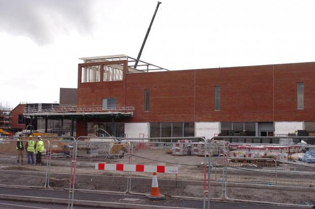 Construction work continuing on the Waitrose building.