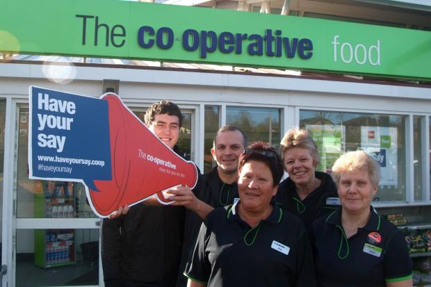 (l-r) Co-op staff Jamie Humphreys, Fred Barrett, Alison Jones, Louise Preece and Glad Skinner.