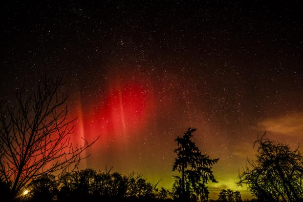 This photo of the Northern Lights was taken in Herefordshire last night.