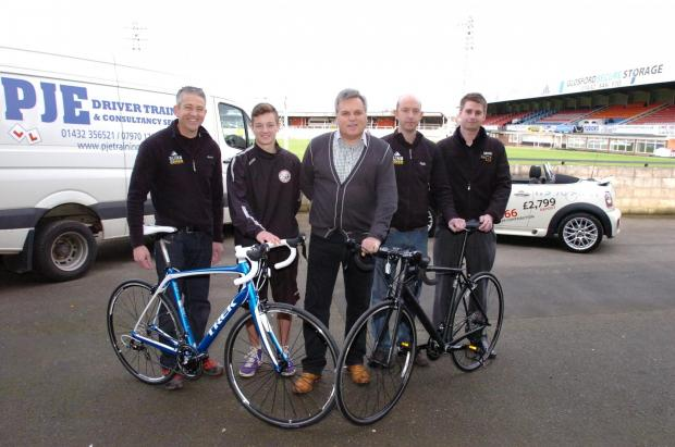 Ledbury Reporter: The Hereford United Big Bike Race aims to raise money for the Hereford United Community Trust.(l-r), Andy Moxon of Climb on Bikes, HUCT student Conor Gorman, Nick Nenadich, director of Hereford United Football Club, Peter Crump of Climb on Bikes, Tom Mose