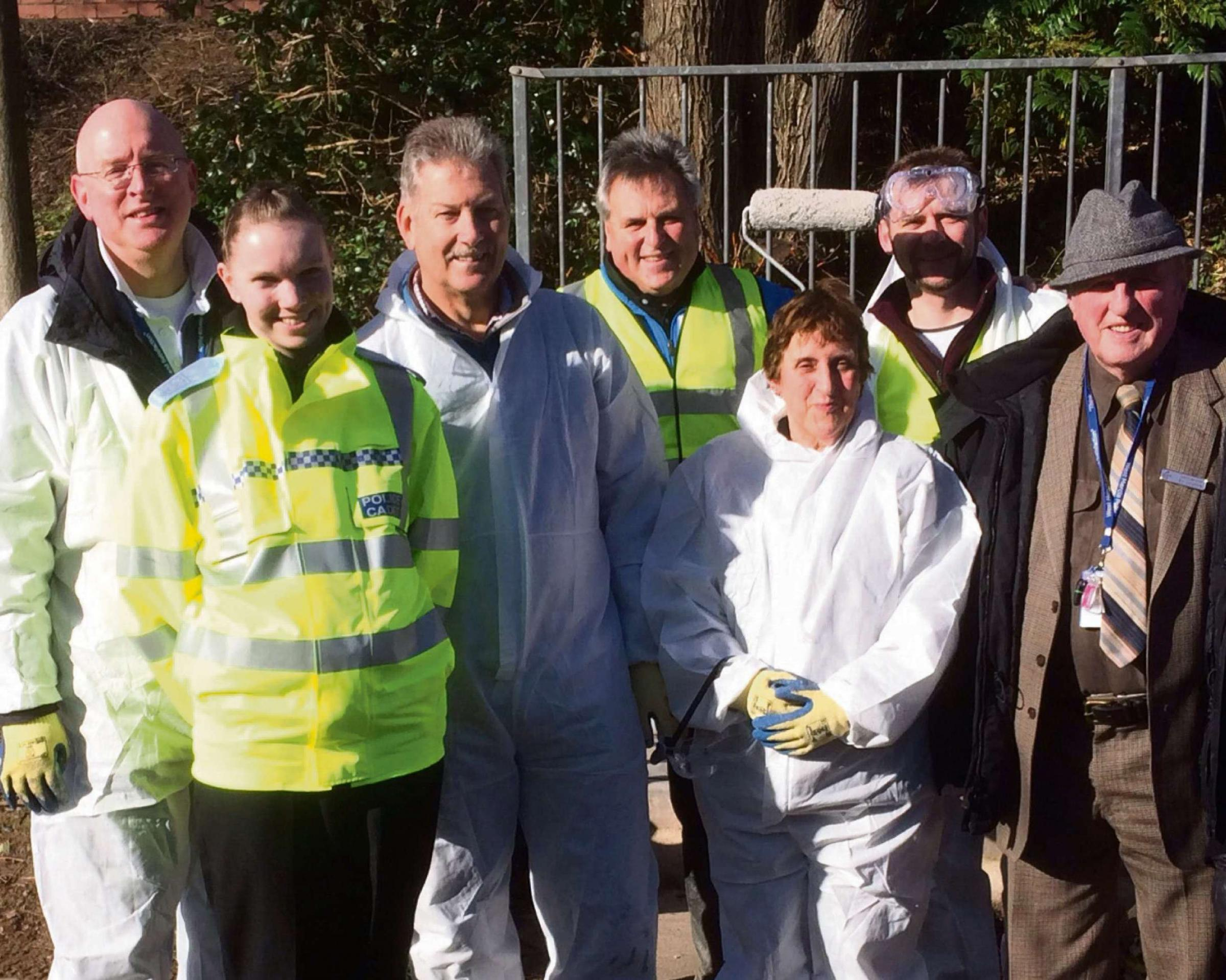 Cleaning up the streets: (l-r) Community ambassador coordinator, Paul Deneen, cadet Lisa King, deputy police and crime commissioner Barrie Sheldon, councillor Nick Nenedich, Gwyneth Gill, community ambassador for Herefordshire, Will Lyndsey, chief executi