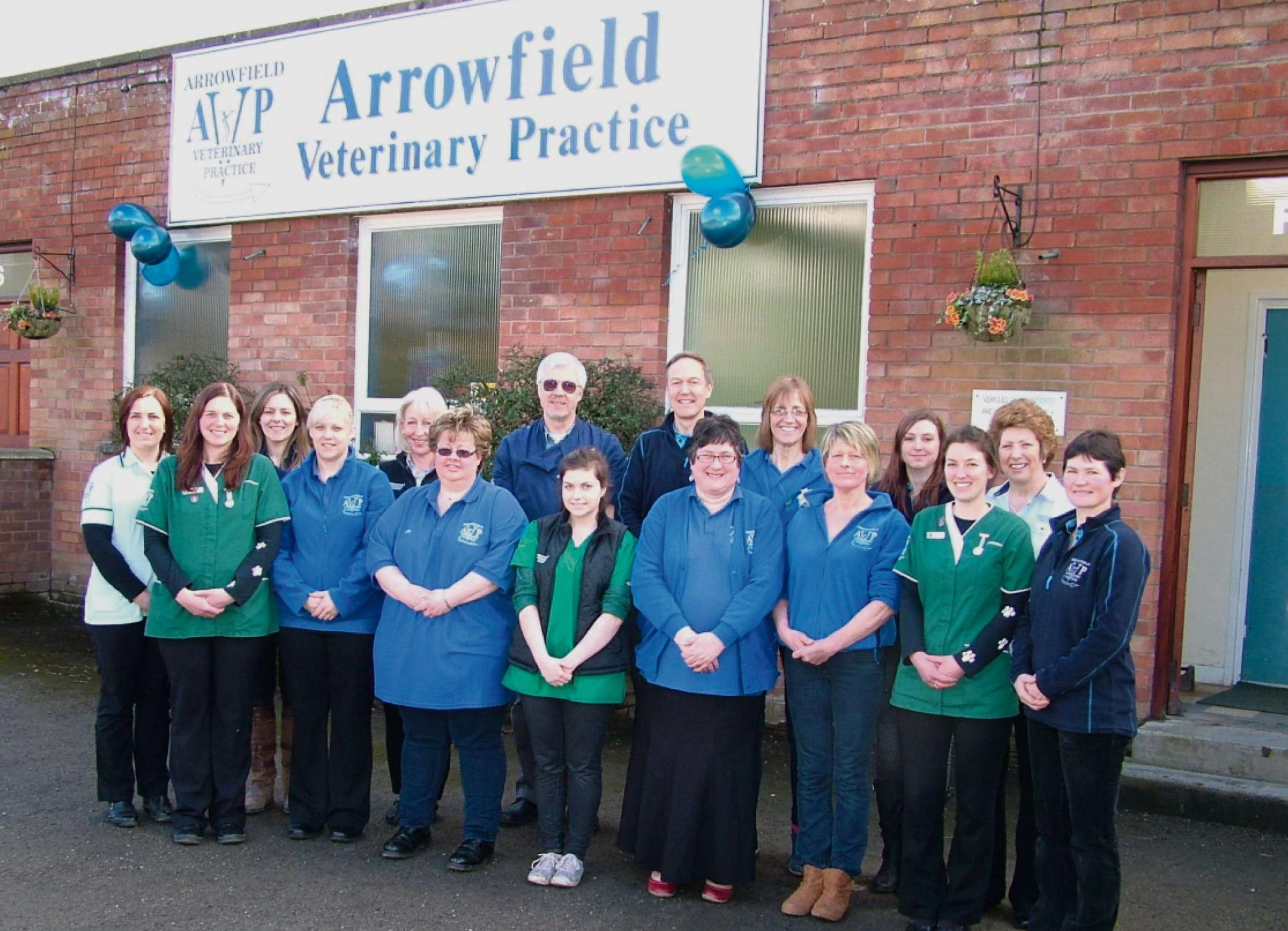 The staff of  Arrowfield Veterinary Practice are celebrating becoming owners of the practice. Picture: Jane Bywater.