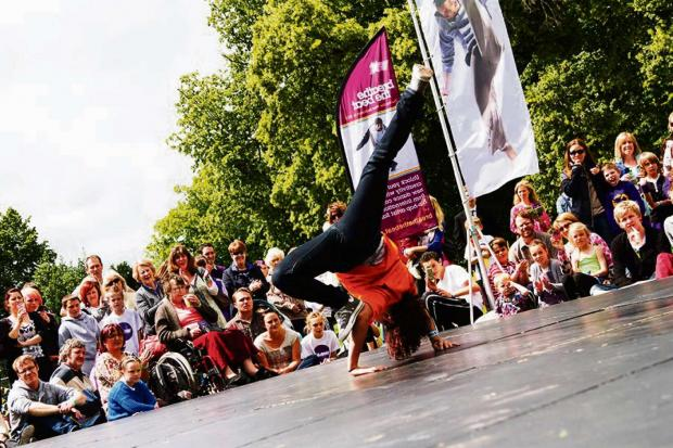 Ledbury Reporter: A 2Faced dancer performing at GLOW dance festival.