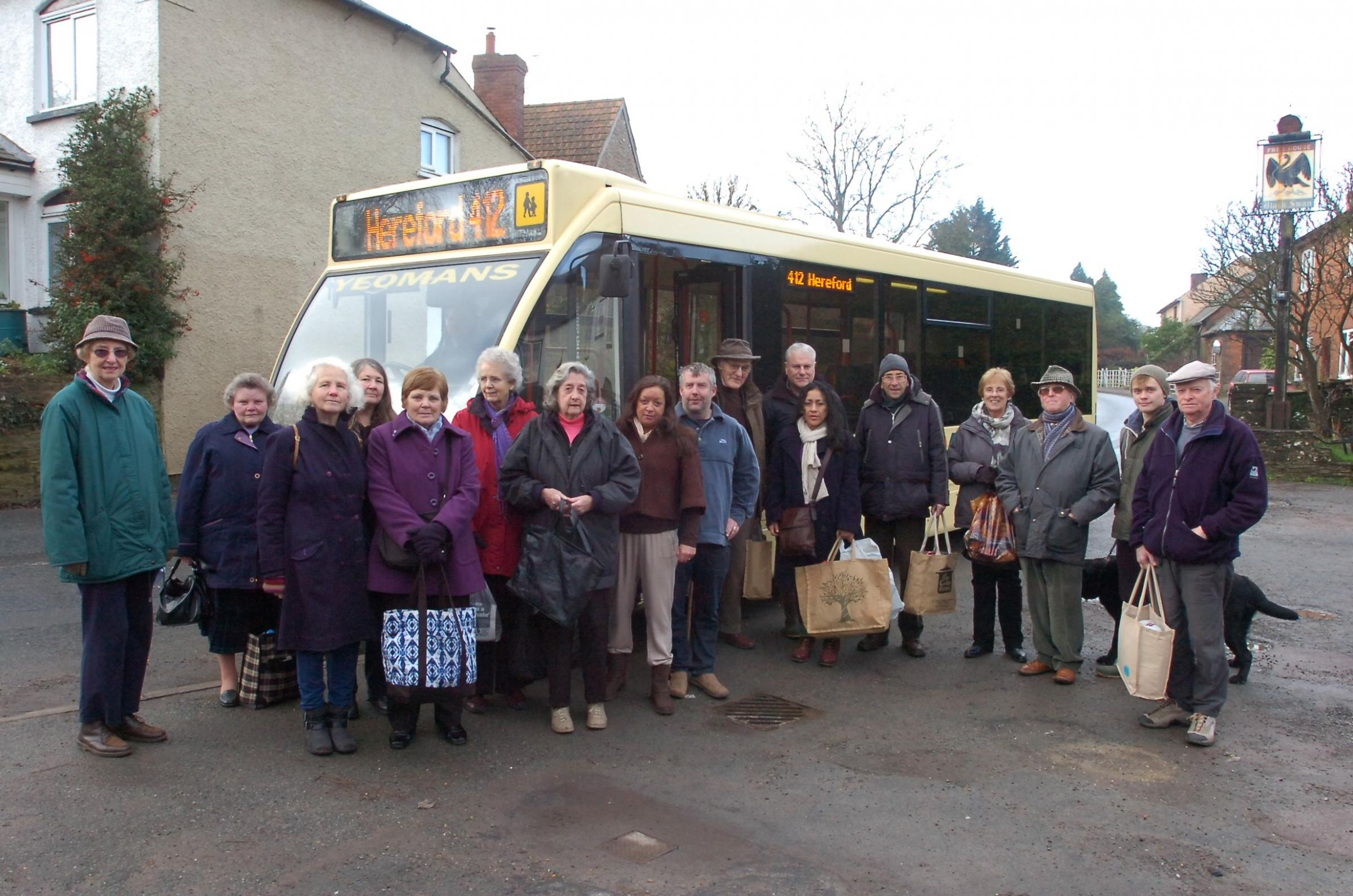 Bus users, pictured in Much Dewchurch, have promised to fight for the future of the 412 servicerunning between Garway and Hereford. By James Maggs.(3536607)
