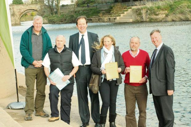At the launch of the BCU scheme; Graham Symonds (Monmouth Canoe Adventure Centre), Paul Howells (Wyedean Canoe Adventure Centre), Jesse Norman MP, Sue Symonds (Monmouth Canoe Adventure Centre), David Leslie (River Wye Canoes/Canoe The Wye), and Bill Wiggi
